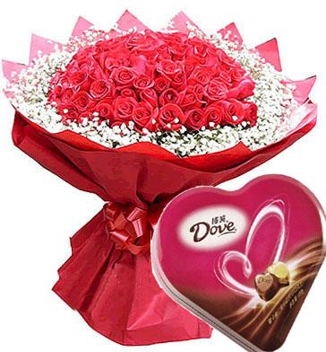 一盒德芙巧克力价格_鲜花巧克力02-66枝红玫瑰,满天星围绕 ,+德芙心语巧克力(纸盒 ...